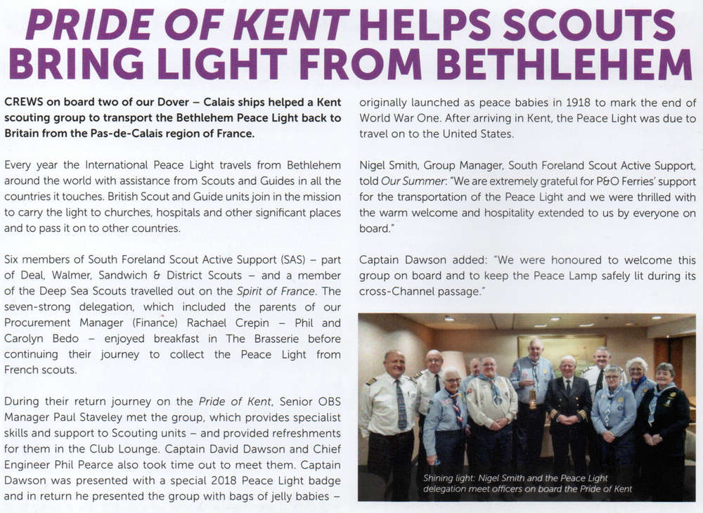 South Foreland SAS bring Peace Light to the UK