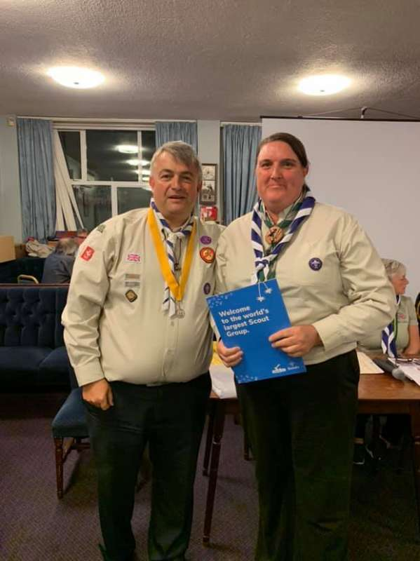 Yolanda Crews receiving her wood badge